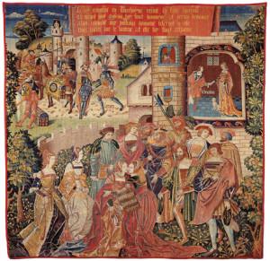 Leriano e Laureola: il perdono del re. Lana e seta 1515-1530 circa. Nord della Francia