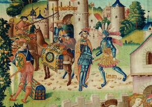 Scènes de l'histoire de Lérian et Lauréolle : le Pardon du roi